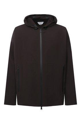 Мужская куртка BOTTEGA VENETA темно-коричневого цвета, арт. 634083/VF4K0 | Фото 1 (Материал внешний: Синтетический материал; Рукава: Длинные; Мужское Кросс-КТ: Куртка-верхняя одежда, Верхняя одежда; Стили: Минимализм, Кэжуэл; Кросс-КТ: Ветровка, Куртка; Длина (верхняя одежда): До середины бедра)