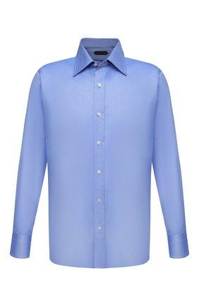 Мужская хлопковая сорочка TOM FORD синего цвета, арт. QFT193/94S1JE | Фото 1 (Материал внешний: Хлопок; Рукава: Длинные; Длина (для топов): Стандартные; Случай: Формальный; Рубашки М: Regular Fit; Стили: Классический; Воротник: Кент)