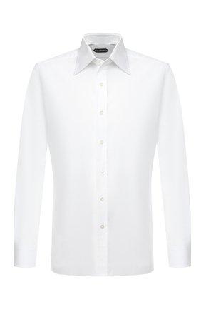 Мужская хлопковая сорочка TOM FORD белого цвета, арт. QFT190/94S1JE | Фото 1 (Материал внешний: Хлопок; Длина (для топов): Стандартные; Случай: Формальный; Воротник: Кент; Рубашки М: Regular Fit; Рукава: Длинные; Стили: Классический; Мужское Кросс-КТ: Сорочка-одежда; Принт: Однотонные; Манжеты: На пуговицах)