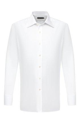 Мужская хлопковая сорочка TOM FORD белого цвета, арт. QFT190/94C1JE | Фото 1 (Рукава: Длинные; Длина (для топов): Стандартные; Материал внешний: Хлопок; Случай: Формальный; Рубашки М: Classic Fit; Стили: Классический; Воротник: Кент)
