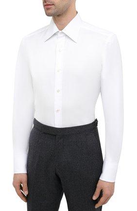 Мужская хлопковая сорочка TOM FORD белого цвета, арт. QFT190/94C1JE | Фото 3