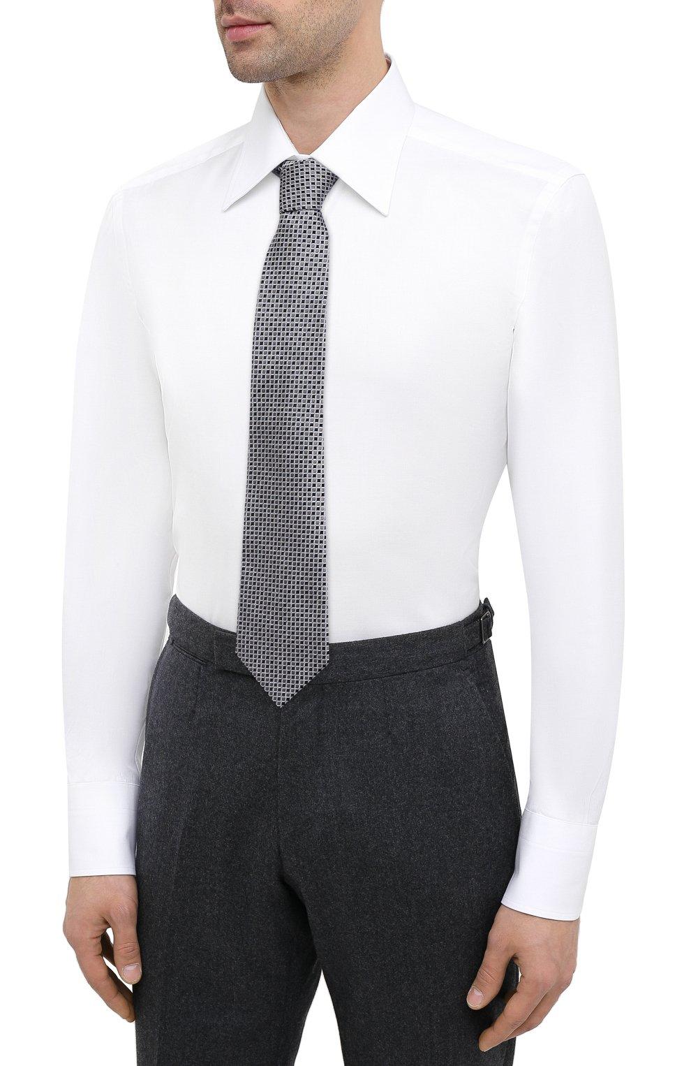 Мужская хлопковая сорочка TOM FORD белого цвета, арт. QFT190/94C1JE | Фото 4