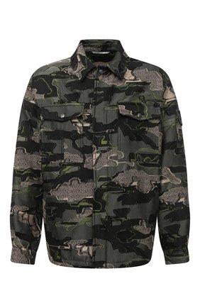 Мужская хлопковая куртка VALENTINO хаки цвета, арт. UV0CJE376QR   Фото 1 (Рукава: Длинные; Материал внешний: Хлопок; Мужское Кросс-КТ: Куртка-верхняя одежда, Верхняя одежда; Стили: Милитари; Кросс-КТ: Ветровка, Куртка)