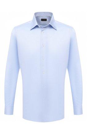 Мужская хлопковая сорочка ERMENEGILDO ZEGNA голубого цвета, арт. 804005/9MS0PA | Фото 1