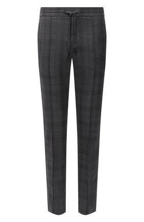 Мужские шерстяные брюки BRIONI серого цвета, арт. RPM20L/09AJ9/NEW SIDNEY | Фото 1 (Длина (брюки, джинсы): Стандартные; Материал внешний: Шерсть; Случай: Повседневный; Стили: Кэжуэл)