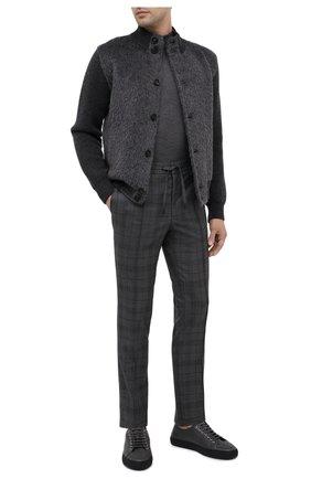 Мужские шерстяные брюки BRIONI серого цвета, арт. RPM20L/09AJ9/NEW SIDNEY | Фото 2 (Длина (брюки, джинсы): Стандартные; Материал внешний: Шерсть; Случай: Повседневный; Стили: Кэжуэл)