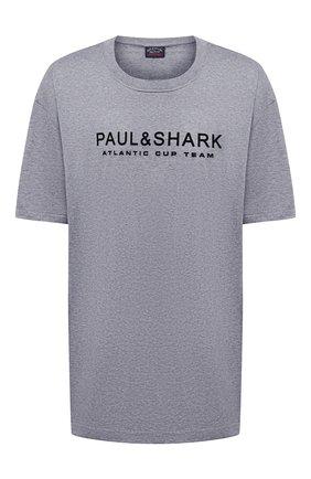 Мужская хлопковая футболка PAUL&SHARK серого цвета, арт. A20P1678/C00/3XL-6XL | Фото 1