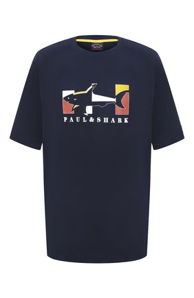 Мужская хлопковая футболка PAUL&SHARK темно-синего цвета, арт. A20P1619/C00/3XL-6XL | Фото 1