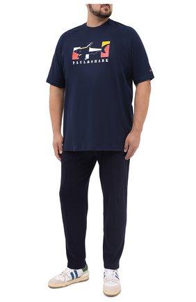 Мужская хлопковая футболка PAUL&SHARK темно-синего цвета, арт. A20P1619/C00/3XL-6XL | Фото 2