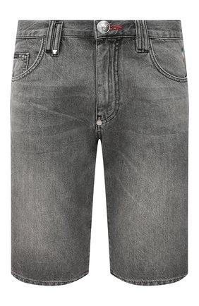 Мужские джинсовые шорты PHILIPP PLEIN светло-серого цвета, арт. F20C MDT2283 PDE004N | Фото 1