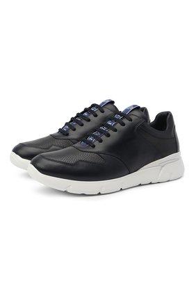 Мужские кожаные кроссовки BILLIONAIRE темно-синего цвета, арт. W20S MSC2888 BLE001N   Фото 1