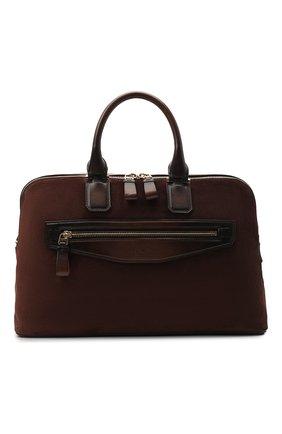 Мужская замшевая сумка для ноутбука SANTONI темно-коричневого цвета, арт. UIBBA2010LI-H2RUT50 | Фото 1