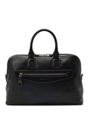 Мужская кожаная сумка для ноутбука SANTONI темно-синего цвета, арт. UIBBA2010LI-AGTQU50 | Фото 1
