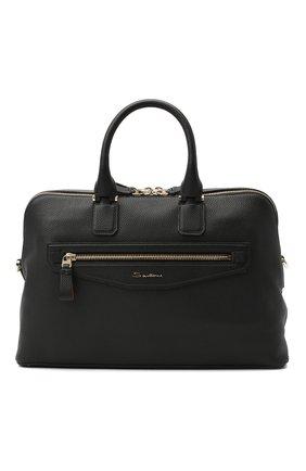 Мужская кожаная сумка для ноутбука SANTONI черного цвета, арт. UIBBA2010LI-HMA1N01 | Фото 1