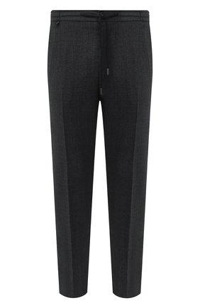 Мужские шерстяные брюки BERWICH темно-серого цвета, арт. SPIAGGIA/MZ1851X | Фото 1 (Длина (брюки, джинсы): Стандартные; Материал подклада: Купро; Материал внешний: Шерсть; Случай: Повседневный; Стили: Кэжуэл)