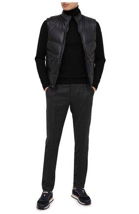 Мужские шерстяные брюки BERWICH темно-серого цвета, арт. SPIAGGIA/MZ1851X | Фото 2 (Длина (брюки, джинсы): Стандартные; Материал подклада: Купро; Материал внешний: Шерсть; Случай: Повседневный; Стили: Кэжуэл)