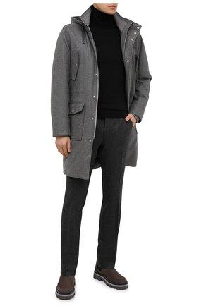 Мужские шерстяные брюки BERWICH темно-серого цвета, арт. ZIP/1 ALC/AN4326 | Фото 2 (Материал подклада: Купро; Материал внешний: Шерсть; Длина (брюки, джинсы): Стандартные; Случай: Повседневный; Стили: Кэжуэл)
