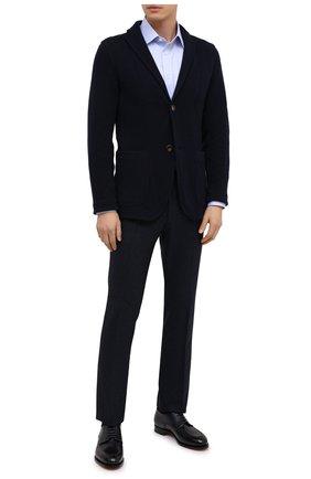 Мужские шерстяные брюки BERWICH темно-синего цвета, арт. ZIP/1 ALC/AN4326 | Фото 2 (Материал внешний: Шерсть; Длина (брюки, джинсы): Стандартные; Материал подклада: Купро; Случай: Формальный; Стили: Кэжуэл)