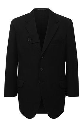 Мужской шерстяной пиджак YOHJI YAMAMOTO черного цвета, арт. HR-J22-100 | Фото 1 (Материал подклада: Хлопок; Рукава: Длинные; Длина (для топов): Стандартные; Материал внешний: Шерсть; Случай: Повседневный; Пиджаки М: Прямой; 1-2-бортные: Однобортные; Стили: Кэжуэл)