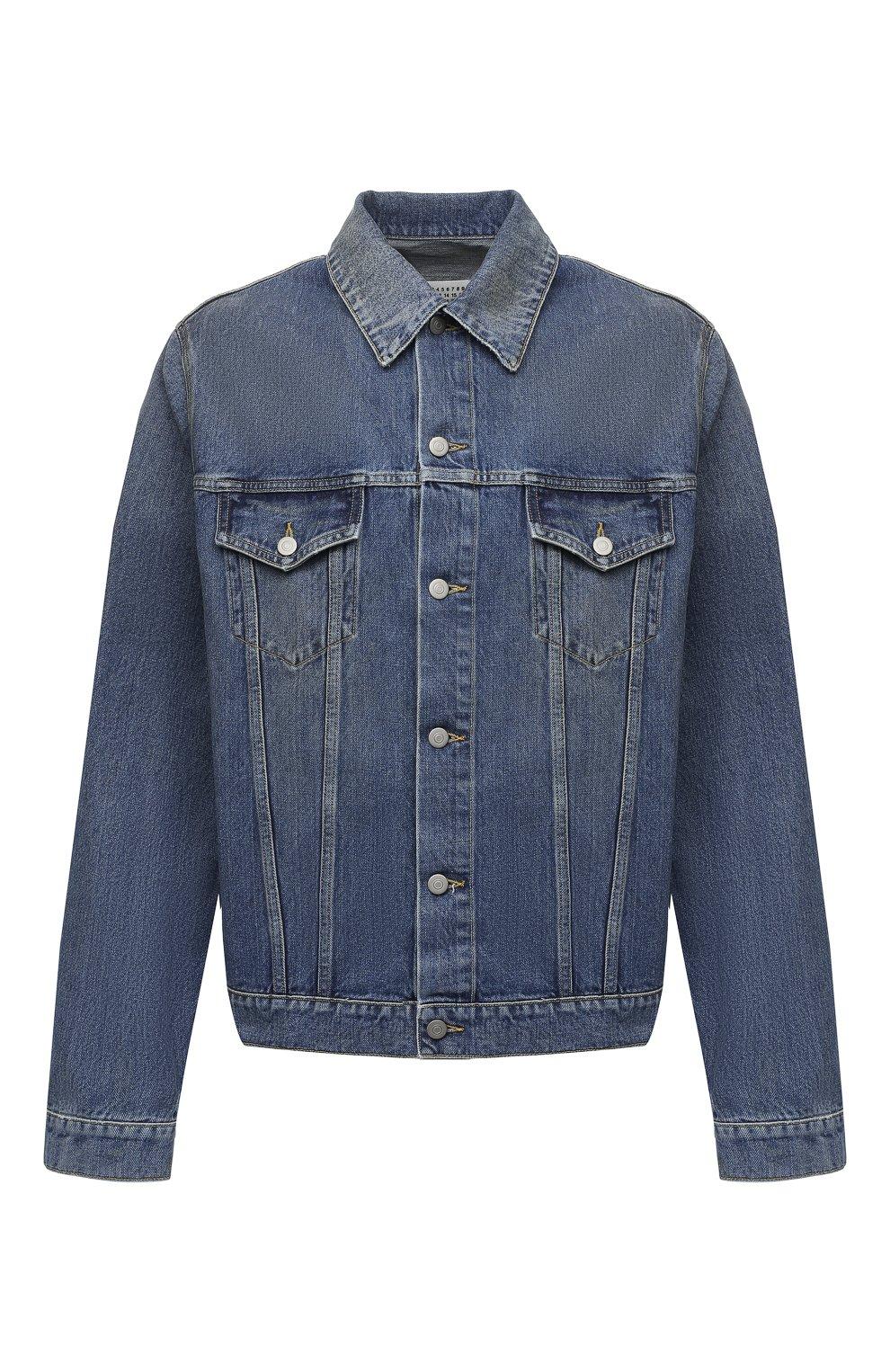 Мужская джинсовая куртка MAISON MARGIELA синего цвета, арт. S50AM0483/S30561 | Фото 1 (Кросс-КТ: Куртка, Деним; Рукава: Длинные; Стили: Гранж; Материал внешний: Хлопок; Мужское Кросс-КТ: Куртка-верхняя одежда, Верхняя одежда; Длина (верхняя одежда): Короткие)