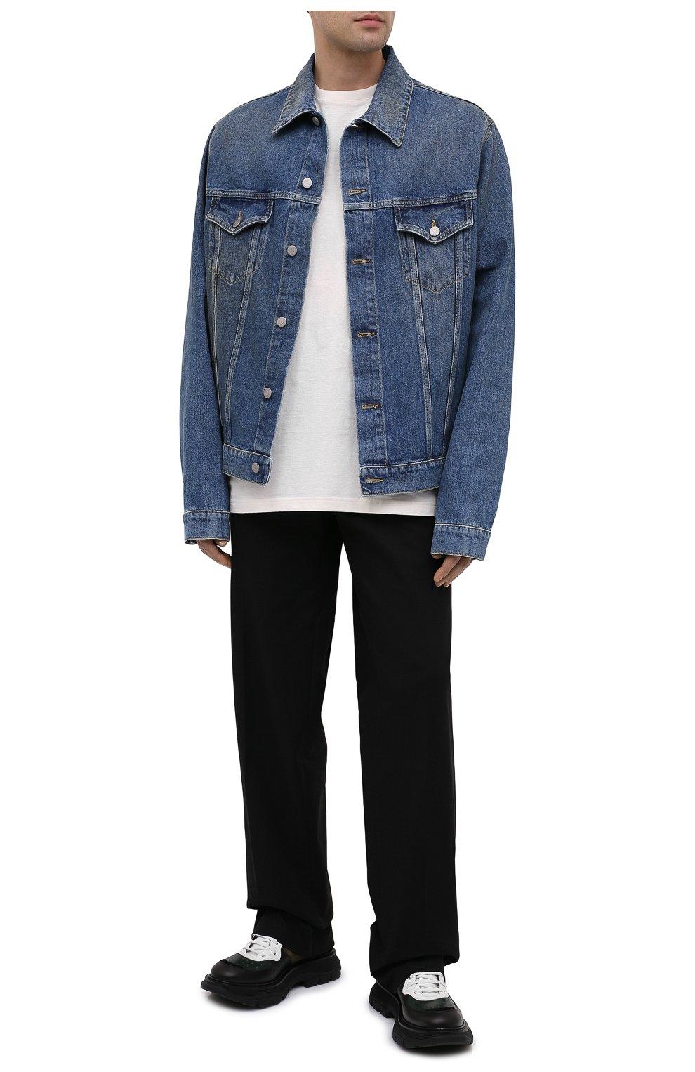 Мужская джинсовая куртка MAISON MARGIELA синего цвета, арт. S50AM0483/S30561 | Фото 2 (Кросс-КТ: Куртка, Деним; Рукава: Длинные; Стили: Гранж; Материал внешний: Хлопок; Мужское Кросс-КТ: Куртка-верхняя одежда, Верхняя одежда; Длина (верхняя одежда): Короткие)