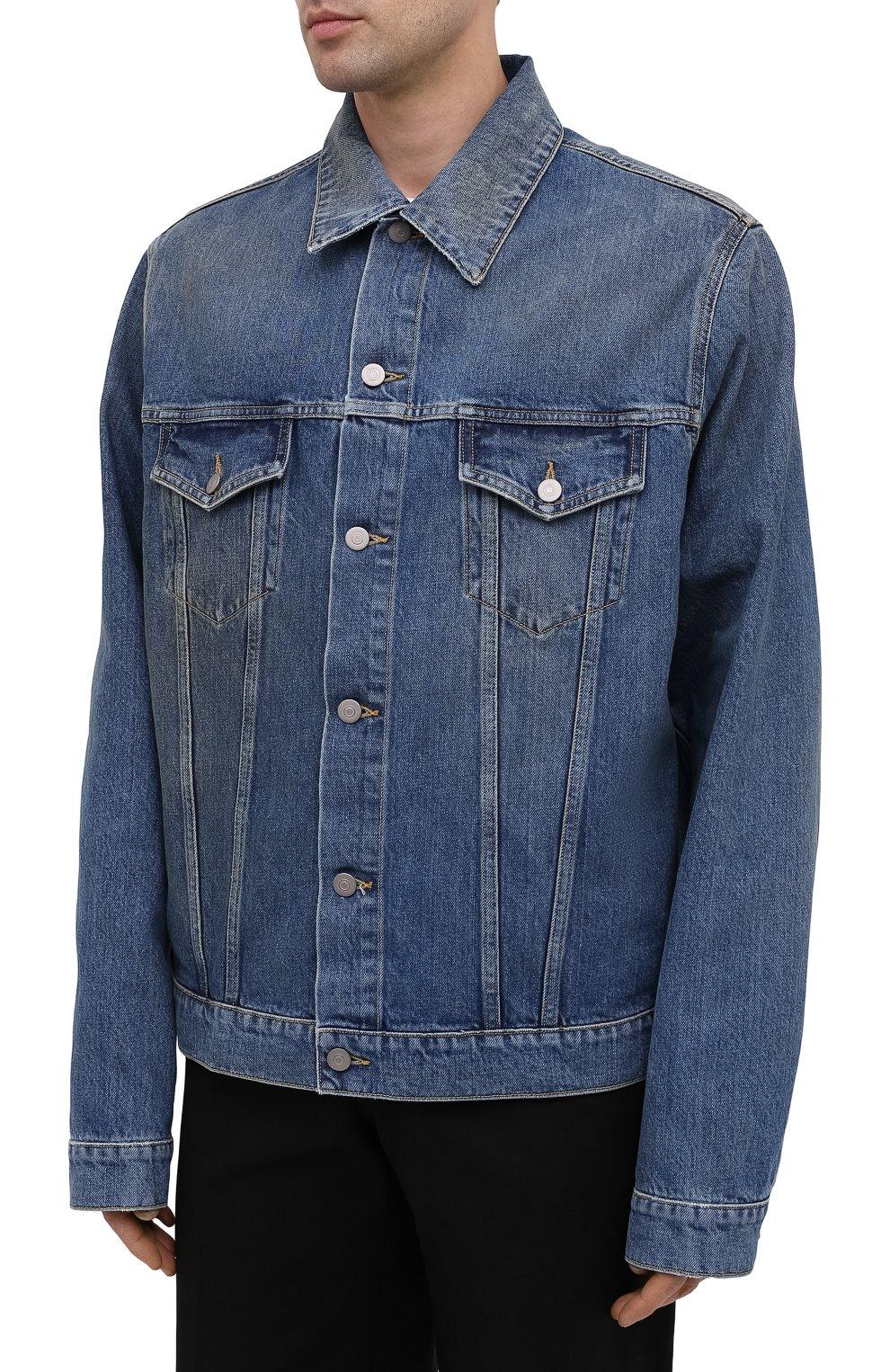 Мужская джинсовая куртка MAISON MARGIELA синего цвета, арт. S50AM0483/S30561 | Фото 3 (Кросс-КТ: Куртка, Деним; Рукава: Длинные; Стили: Гранж; Материал внешний: Хлопок; Мужское Кросс-КТ: Куртка-верхняя одежда, Верхняя одежда; Длина (верхняя одежда): Короткие)