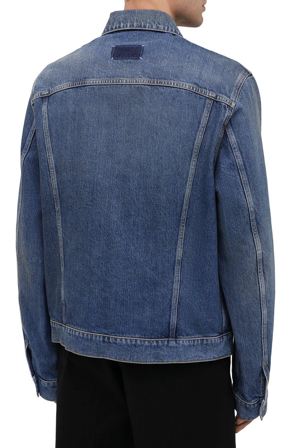 Мужская джинсовая куртка MAISON MARGIELA синего цвета, арт. S50AM0483/S30561 | Фото 4 (Кросс-КТ: Куртка, Деним; Рукава: Длинные; Стили: Гранж; Материал внешний: Хлопок; Мужское Кросс-КТ: Куртка-верхняя одежда, Верхняя одежда; Длина (верхняя одежда): Короткие)
