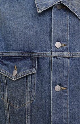 Мужская джинсовая куртка MAISON MARGIELA синего цвета, арт. S50AM0483/S30561 | Фото 5 (Кросс-КТ: Куртка, Деним; Рукава: Длинные; Стили: Гранж; Материал внешний: Хлопок; Мужское Кросс-КТ: Куртка-верхняя одежда, Верхняя одежда; Длина (верхняя одежда): Короткие)