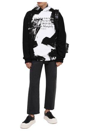 Мужской хлопковое худи MAISON MARGIELA черно-белого цвета, арт. S50GU0151/S25451 | Фото 2