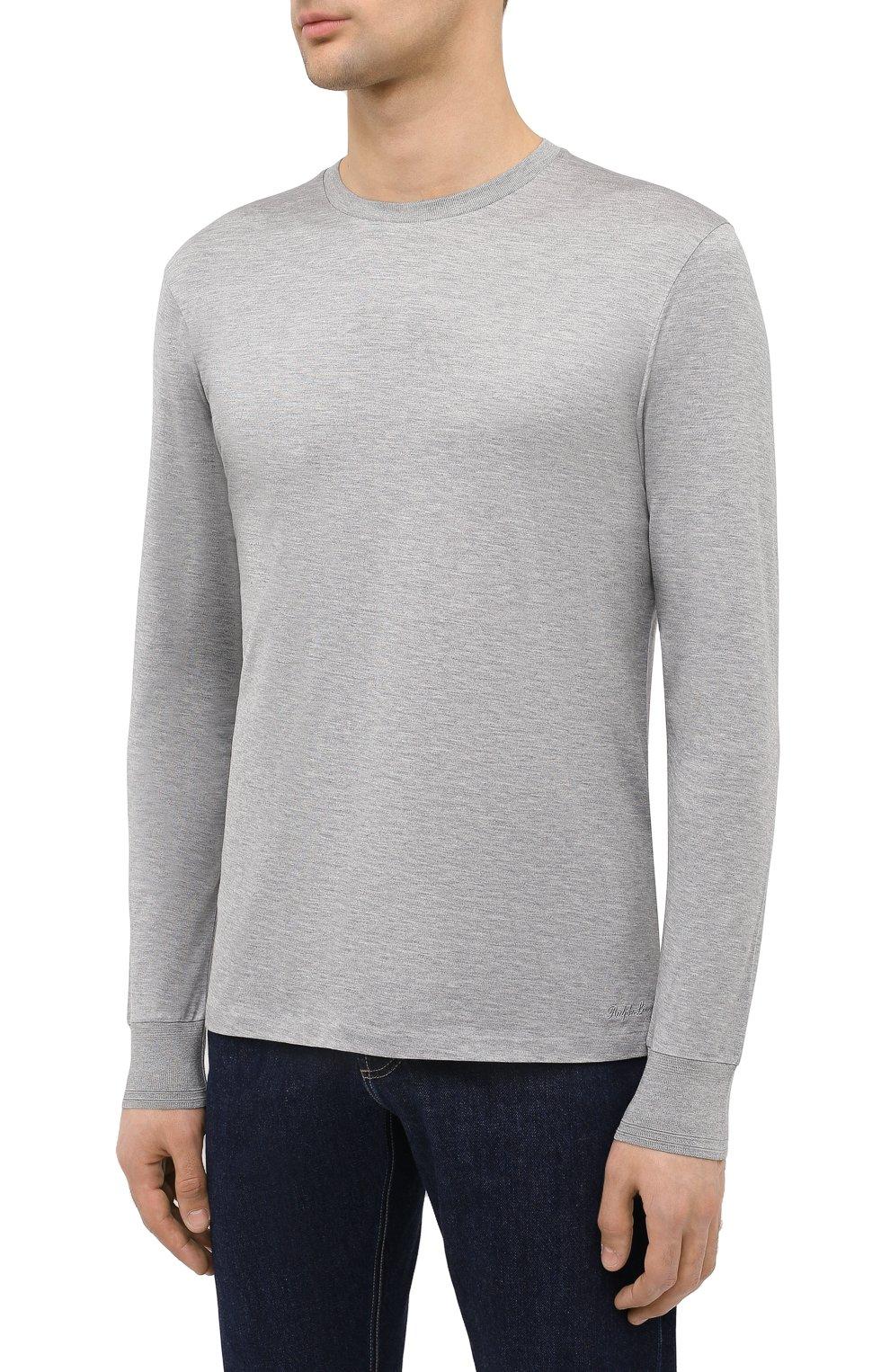 Мужская лонгслив из шелка и хлопка RALPH LAUREN серого цвета, арт. 790799193 | Фото 3