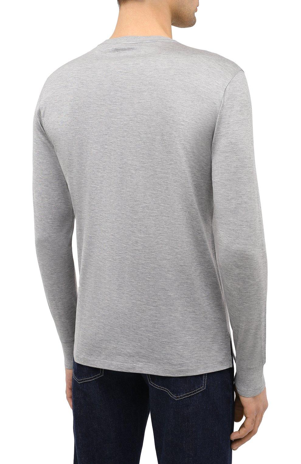 Мужская лонгслив из шелка и хлопка RALPH LAUREN серого цвета, арт. 790799193 | Фото 4
