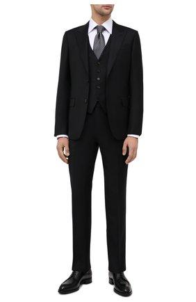 Мужской костюм-тройка из шерсти и шелка ERMENEGILDO ZEGNA черного цвета, арт. 816556/327B25 | Фото 1