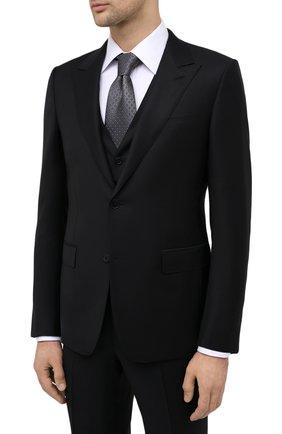 Мужской костюм-тройка из шерсти и шелка ERMENEGILDO ZEGNA черного цвета, арт. 816556/327B25 | Фото 2