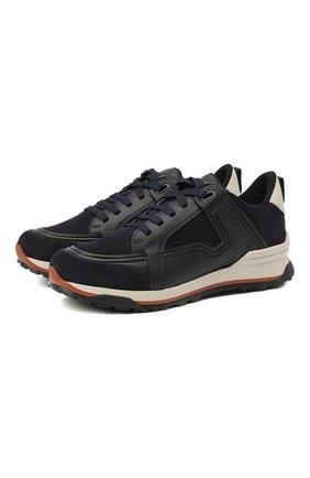 Мужские комбинированные кроссовки ERMENEGILDO ZEGNA темно-синего цвета, арт. A4417X-LHKUA | Фото 1