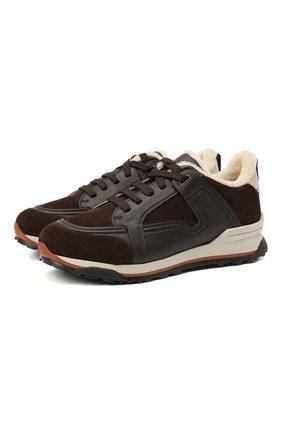 Мужские комбинированные кроссовки ERMENEGILDO ZEGNA темно-коричневого цвета, арт. A4670X-LHKUM | Фото 1