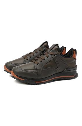 Мужские кожаные кроссовки ERMENEGILDO ZEGNA хаки цвета, арт. A4402X-LHSRE | Фото 1 (Материал внутренний: Текстиль, Натуральная кожа; Подошва: Массивная; Стили: Классический)