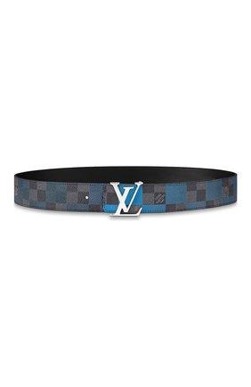 Мужской двусторонний ремень lv initiales LOUIS VUITTON синего цвета, арт. M0319U   Фото 1