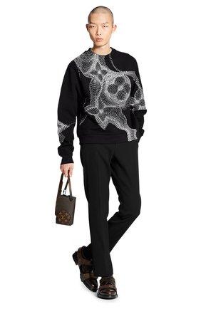 Мужской хлопковый свитшот LOUIS VUITTON черно-белого цвета, арт. 1A8A7K   Фото 2