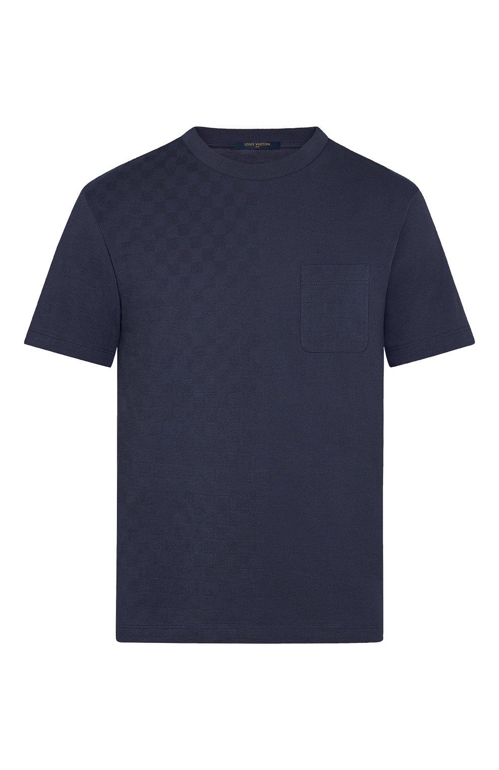 Мужская хлопковая футболка LOUIS VUITTON синего цвета, арт. 1A7XE1 | Фото 1 (Принт: Без принта; Рукава: Короткие; Мужское Кросс-КТ: Футболка-одежда; Материал внешний: Хлопок; Стили: Кэжуэл)