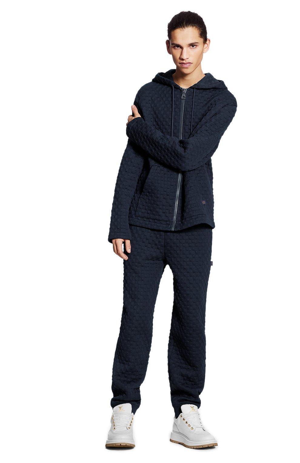 Мужской хлопковая толстовка LOUIS VUITTON темно-синего цвета, арт. 1A7X68   Фото 2 (Мужское Кросс-КТ: Толстовка-одежда; Материал внешний: Хлопок; Стили: Кэжуэл)
