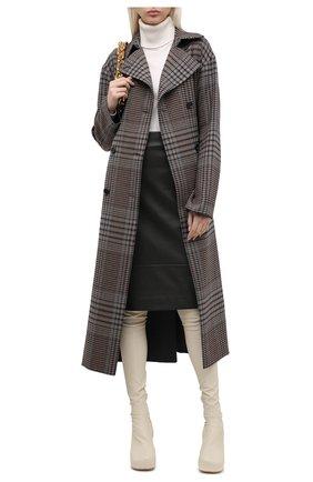 Женская кожаная юбка KITON хаки цвета, арт. D50271X05S03 | Фото 2