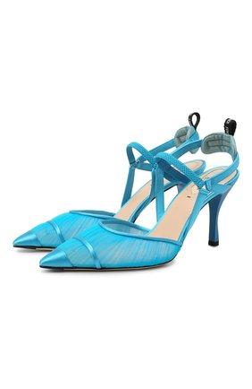 Женские текстильные туфли colibri FENDI синего цвета, арт. 8J8040 AC87 | Фото 1