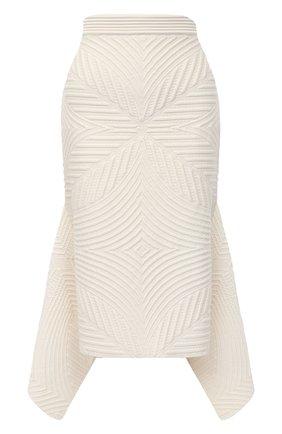 Женская шерстяная юбка ALEXANDER MCQUEEN белого цвета, арт. 641897/Q1AR0   Фото 1