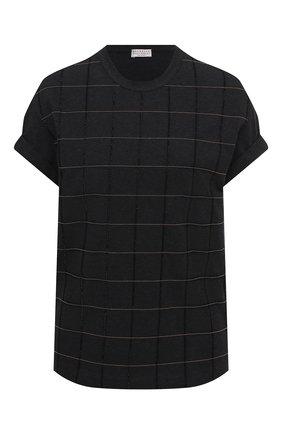 Женская хлопковая футболка BRUNELLO CUCINELLI черного цвета, арт. M0T18BE100 | Фото 1