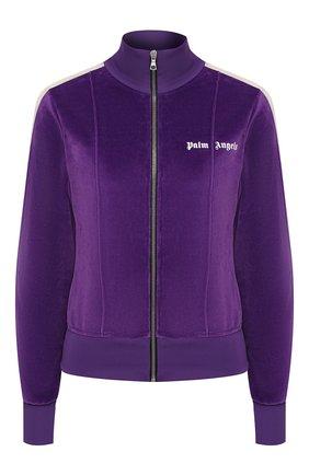 Женский хлопковый кардиган PALM ANGELS фиолетового цвета, арт. PWBD022F20FAB0023701 | Фото 1