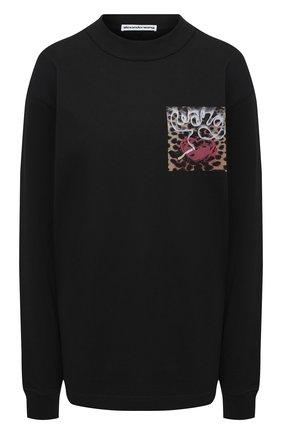 Женская хлопковый лонгслив ALEXANDER WANG черного цвета, арт. UCC2201021 | Фото 1