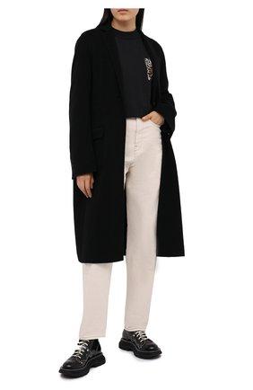 Женская хлопковый лонгслив ALEXANDER WANG черного цвета, арт. UCC2201021 | Фото 2