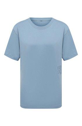 Женская хлопковая футболка ALEXANDERWANG.T голубого цвета, арт. 4CC1201152 | Фото 1