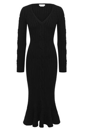 Женское шерстяное платье ALEXANDER MCQUEEN черного цвета, арт. 633684/Q1AQH | Фото 1