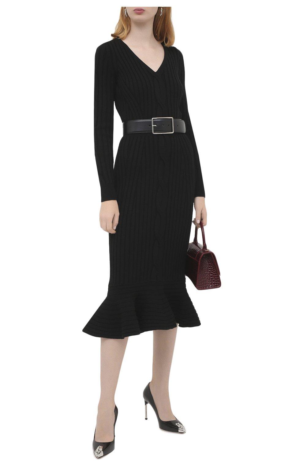 Женское шерстяное платье ALEXANDER MCQUEEN черного цвета, арт. 633684/Q1AQH | Фото 2